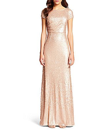 Adrianna Papell Short Sleeve Sequin Gown #Dillards