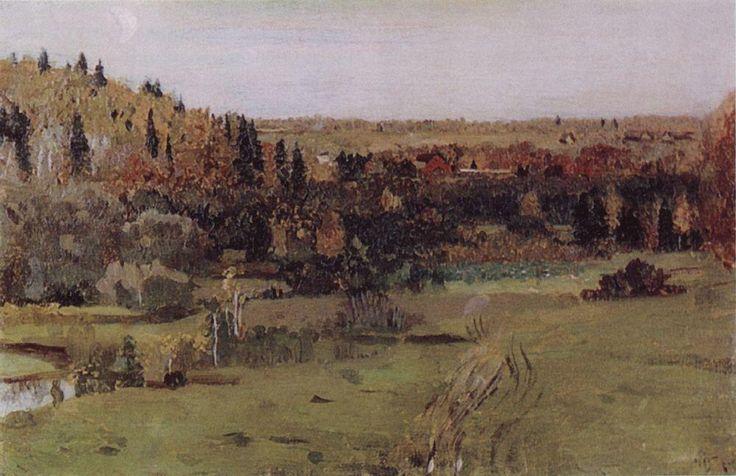 """Пейзаж в Абрамцево Именно этот этюд послужил основой для пейзажного фона в главной картине Нестерова """"Видение отроку Варфоломею"""""""