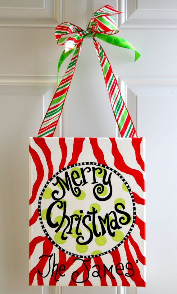 Christmas Painting on Canvas Hand Painted Art Door Hanger Personalized Decor Zebra Print