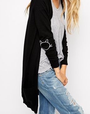 Enlarge ASOS Longline Cardigan With Cat Elbow Patch, this is perfect a black cardigan with kitty elbow patches!!!