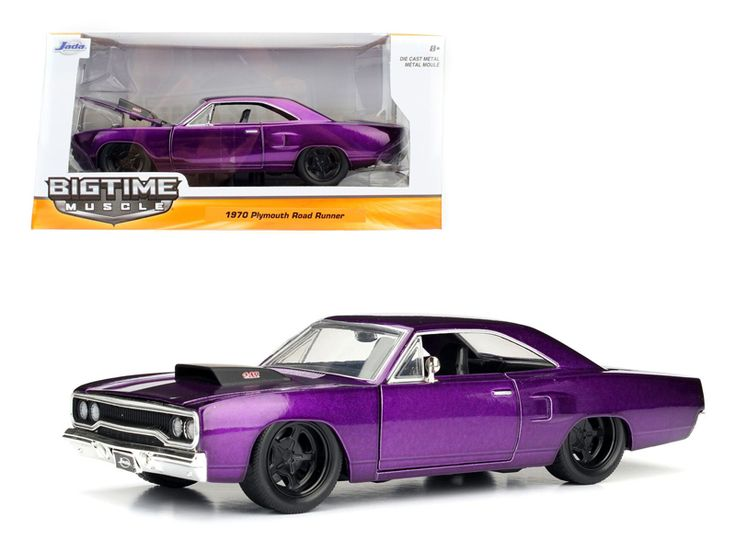 1970 Plymouth Road Runner Purple 1/24 Diecast Model Car by Jada - Brand new 1:24 scale diecast model car of 1970 Plymouth Road Runner Purple die cast car model by Jada. Rubber tires. Brand new box. Detailed interior, exterior. Has opening hood, doors and trunk. Made of diecast with some plastic parts. Dimensions approximately L-8, W-3.75, H-3.25 inches. Please note that manufacturer may change packing box at any time. Product will stay exactly the same.-Weight: 2. Height: 6. Width: 11. Box…