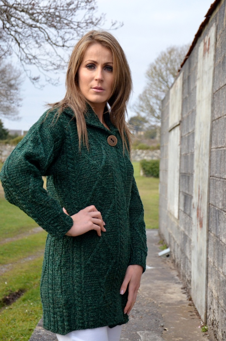 Ladies Green Aran Cardigan - www.standun.com