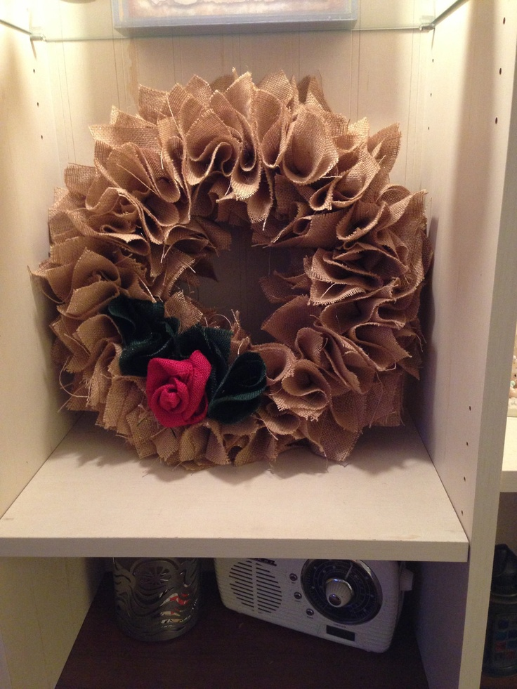 Gold with Burlap 12 Christmas wreath by PurrtyNeatStuff on Etsy, $40.00