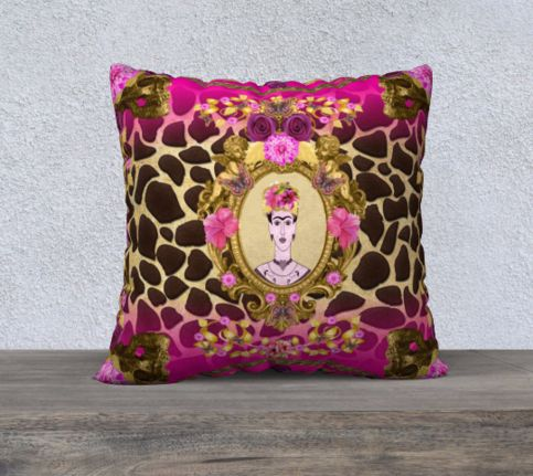 Funky Frida Kahlo with Skulls, Butterflies Giraffe Print Velveteen Large Cushion Cover sold by Jantulov Designs. Shop more products from Jantulov Designs on Storenvy, the home of independent small businesses all over the world.