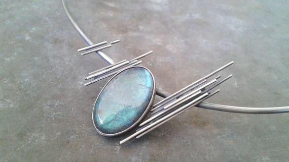 Labradorite and oxidized silver necklaceblue by Jewelartla on Etsy