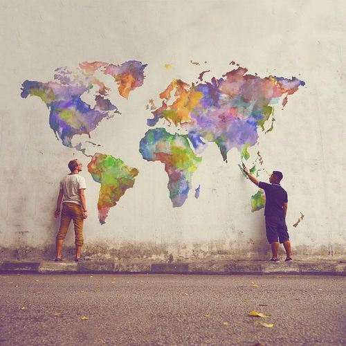 131 best travel flowers images on pinterest maps world maps and rainbow world map world globe maps painting street art hand painted gumiabroncs Images