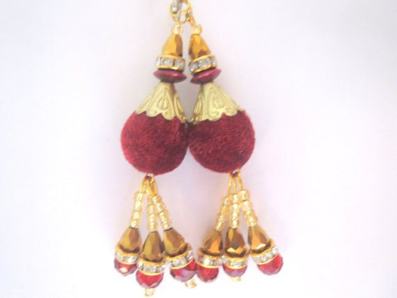 Maroon Velvet and Red Golden Beads Handcrafted by CraftyJaipur