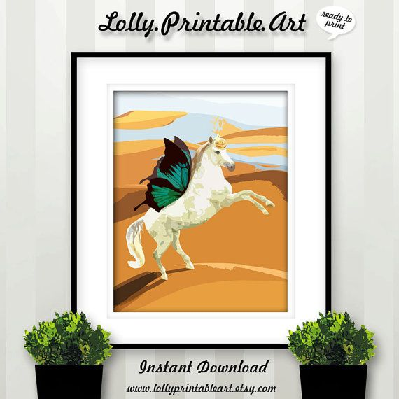 Unique Printable Art (White Horse Butterfly) by LollyPrintableArt
