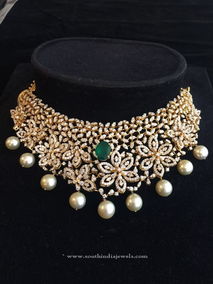 Indian Diamond Choker Necklace Designs, Diamond Choker Necklace Models, Diamond Choker Necklace in India.