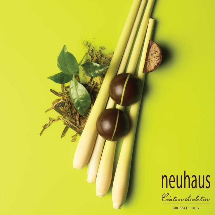 This spicy praline in dark chocolate is filled with a crispy praliné à l'ancienne made with Chinese green tea and Oriental lemon grass. #neuhaus #chocolate #duopralines