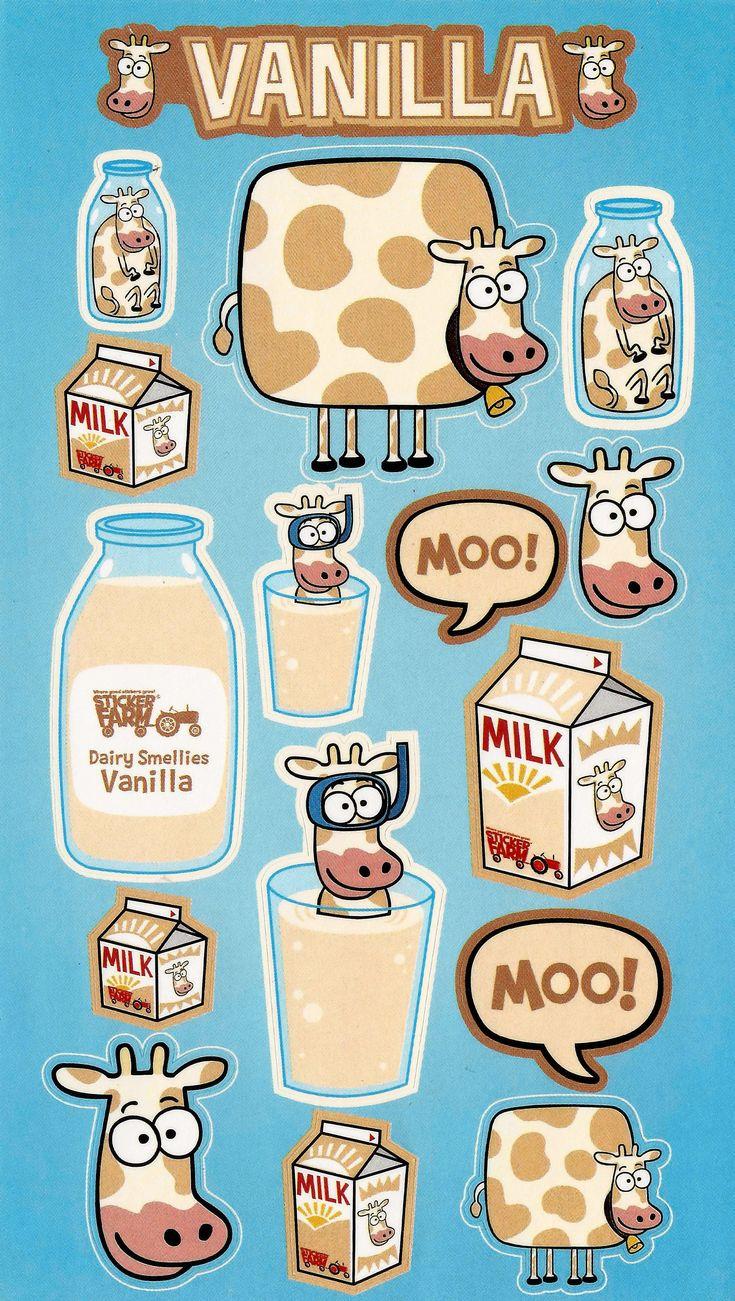 Vanilla Cows Sniff sticker, Vanilla milk, Vanilla