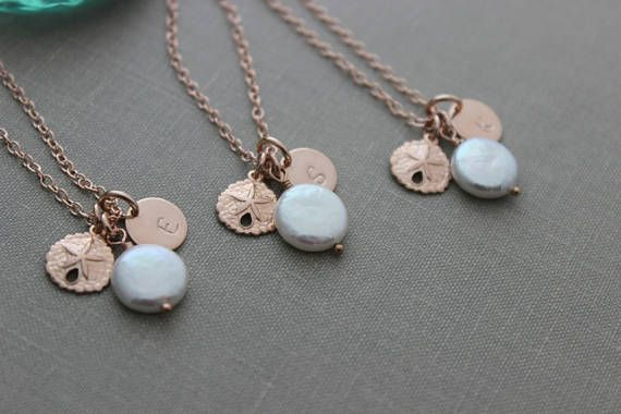 Beach Bridesmaid Jewelry Gift Set  14k rose gold filled