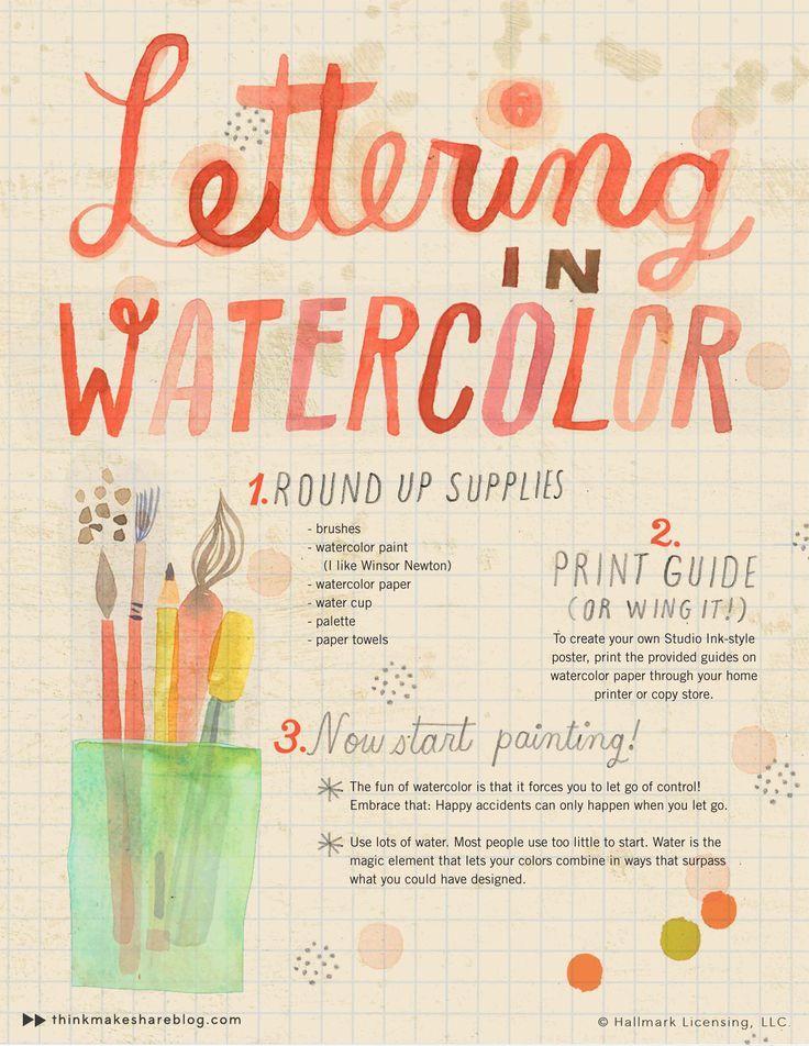 Watercolor Hand Lettering via Think. Make. Share | Francois et Moi