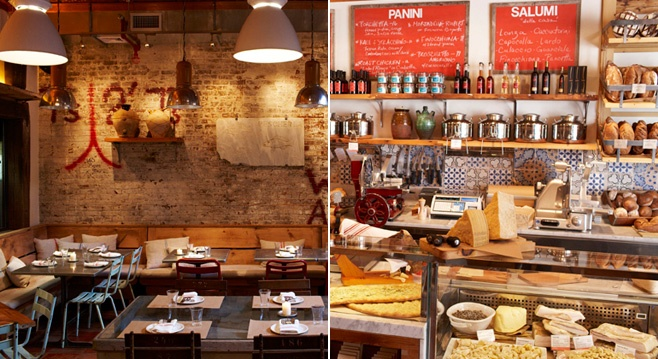 I love these rustic Italian deli elements. Give me an exposed brick wall and I'm anyone's!