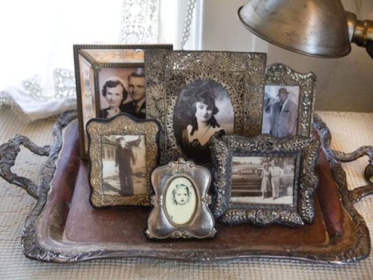 Luv this idea...old tray, mini photo frames....