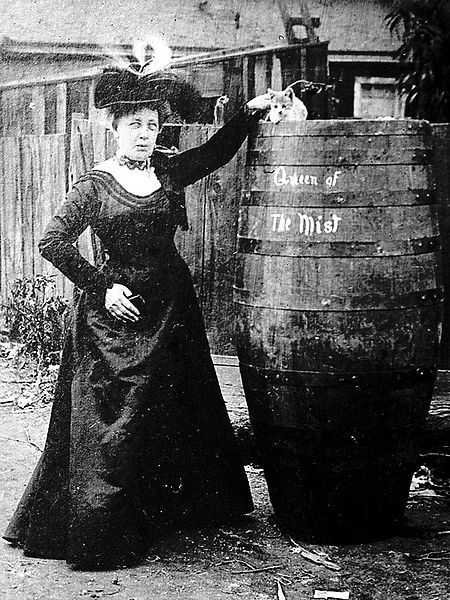 Annie Edson Taylor (24 October 1838 - 29 April 1921) had a passion for danger: she was the first person to survive a trip over Niagara Falls...in a barrel.