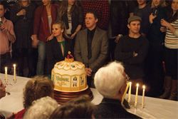 #Baddeley Night 2012,  #Twelfth Night, at #Theatre Royal #Drury Lane,  #Shrek actors raising a glass of punch to Robert Baddeley and cutting the #Baddeley cake with a theme from the show, in his honour.