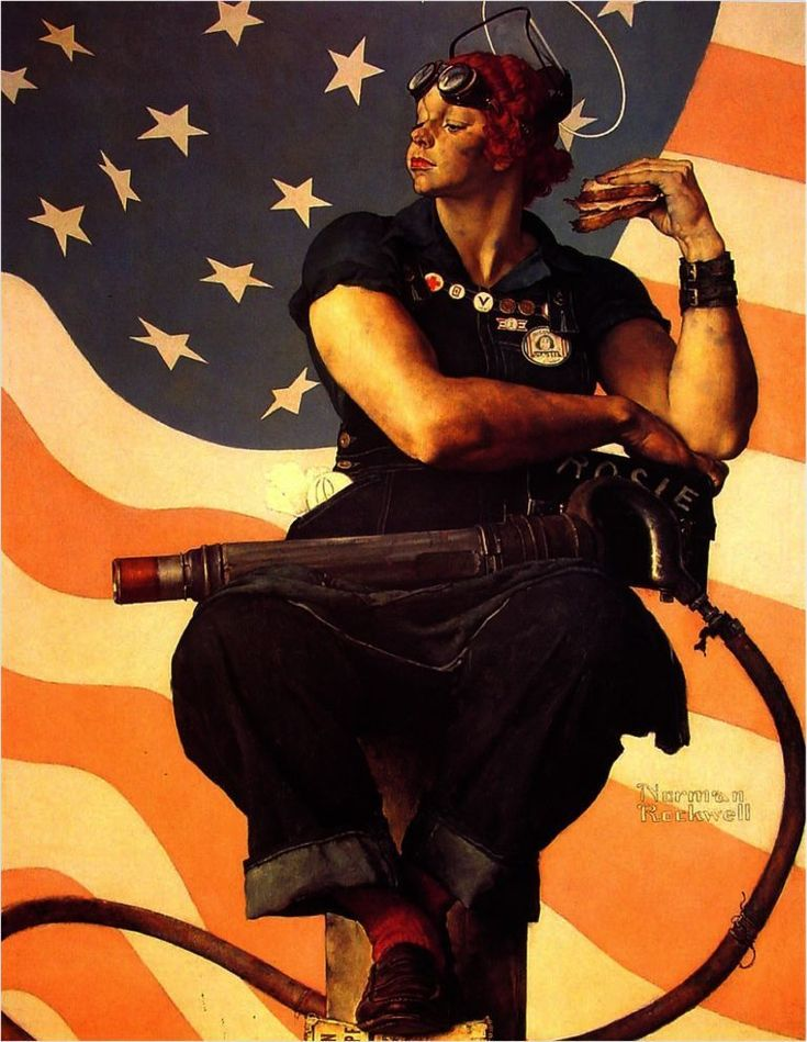 Rosie the Riveter  :  Norman Rockwell  :  circa 1943  WWII women #Illustration