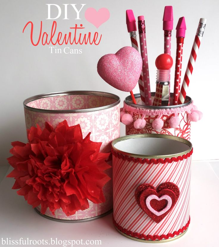 BLISSFUL ROOTS: DIY Valentine Tin Cans. Could make these in regular decorative papers and put school supplies in them for the shoeboxes.  Could put in a clear bag with a twist tie to keep together.