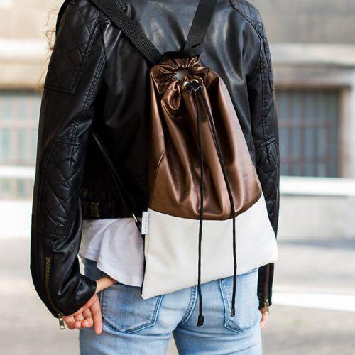 Felnőtt hátizsák - bronz és fehér színben - Bozoki Kids Fashion