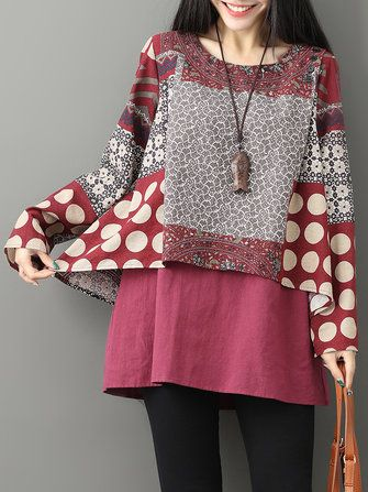79263e8cae05 Gracila Casual Printed Double Layered Blouse | Womens Tops | Baggy ...