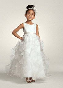 Adorable organza dress is absolutely precious for your flower girl on the big day!  Full length ruffled organza skirt is fit for a princess.  Simple satin sash adorns the waist, but add a splash of color with any of our flower girl sash styles!  Tank bodice is simple yet youthful.  Shown with Sash S1042 (shown in back shot).  Available in Soft White or White.$129.00
