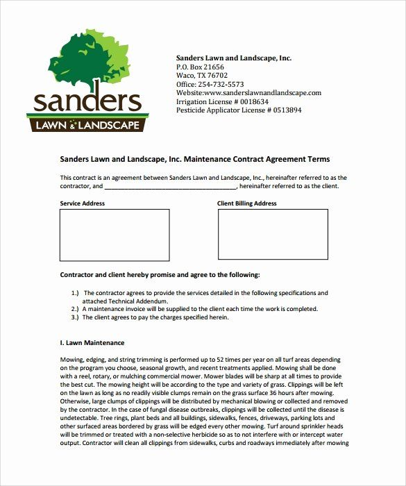 Landscape Maintenance Contract Template In 2020 Landscape Maintenance Lawn Service Contract Template