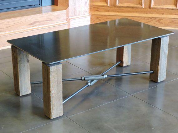 Coffee Table. 4x4 Legs, Floating Steel Top. Turnbuckles