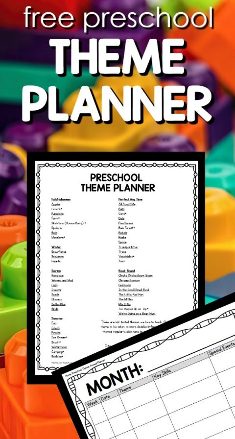 Free printable annual theme planner full of theme idea for preschool at home or in the classroom