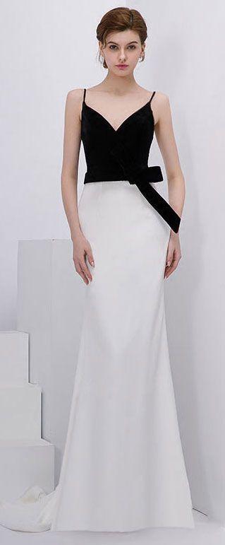 81869022c4e Chic robe de soirée longue bicolore à col v avec nœud