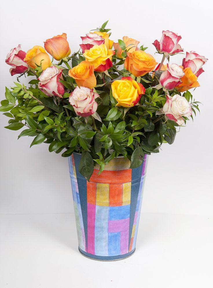 www.fleria.gr Handmade collage Nina's paintings pot with roses arrangement