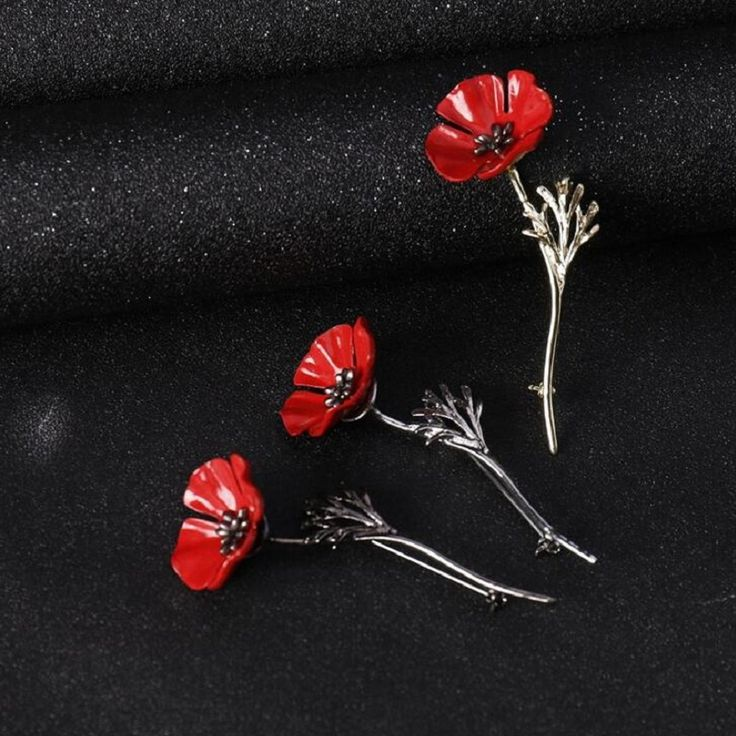 SHUANGR Brand Fashion Red Poppy Flower Brooch Vintage Collar Pins for Men Jewelry Brooches Pins Boutonniere Men Suit Accessories-in Brooches from Jewelry & Accessories on Aliexpress.com | Alibaba Group
