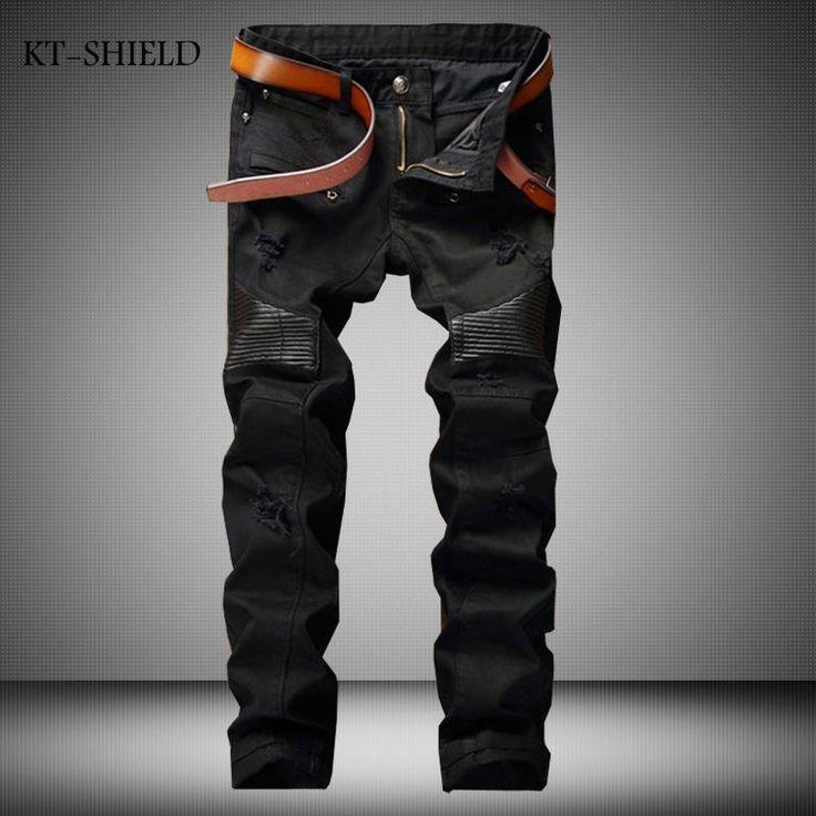 Plus size Men designer brand stretch denim calca jeans masculina biker motorcycle Slim Homme hip hop casual Black trousers