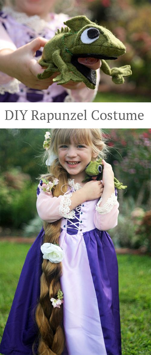 Make your own Rapunzel costume!   Oooh, I already have a dress I could use for this... would just need the hair part!  Hmmmm.