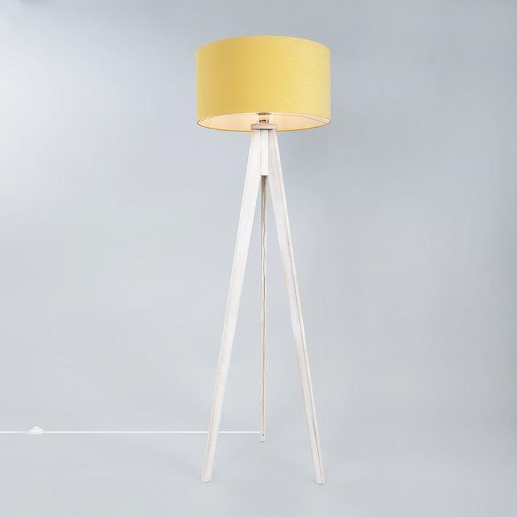 Lampa podłogowa Tripod Classic biała  z kloszem 50cm żółty