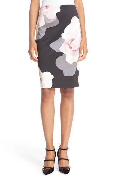 Ted Baker London 'Porcelain Rose' Print Knit Pencil Skirt available at #Nordstrom
