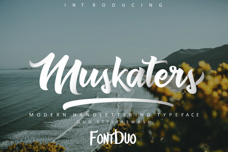 Muskaters Font  Muskaters is a stylish, modern hand-lettered script font. Muskaters is stylish modern handlettering script. Besides the Muskaters font you will also receive the Mergokwe font as a bonus. These fonts are great to combine.