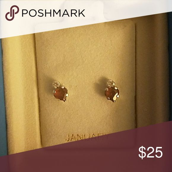 Garnet Heart Earrings Small, dainty, worn a few times! No flaws! Piercing Pagoda Jewelry Earrings