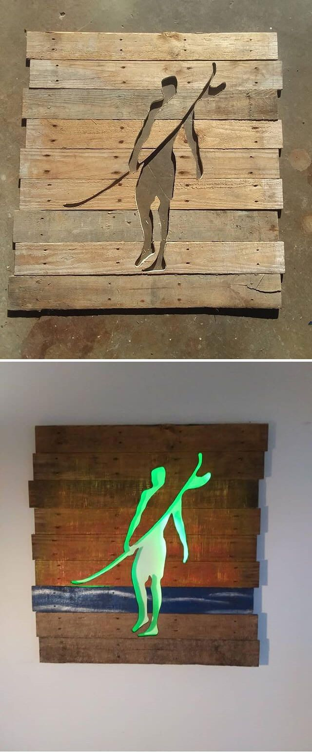 40+ pallet furniture with glowing wall art - | dis hout