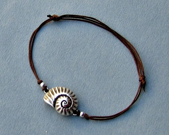 Nautilus Shell Unisex Bracelet Silver Spiral Shell by GUSFREE