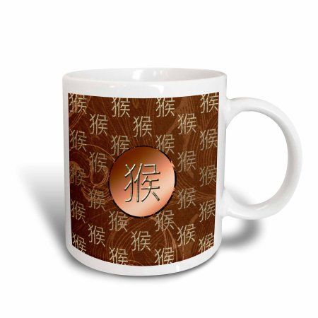 3dRose Chinese Sign of the Monkey, Leaves in Orange, Taupe, and Gold, Ceramic Mug, 15-ounce