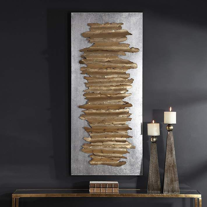 Uttermost Lev 55 1 4 Wide Gold And Silver Metal Wall Art 73k21 Lamps Plus In 2020 Metal Sculpture Wall Art Metal Wall Art Decor Metal Walls