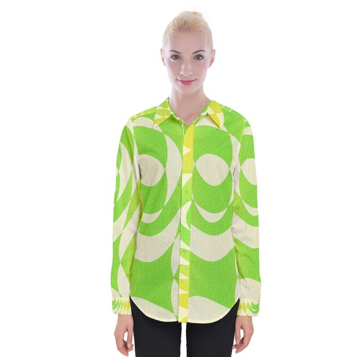 Green Shapes Canvas Women Long Sleeve Shirt Womens Long Sleeve Shirt
