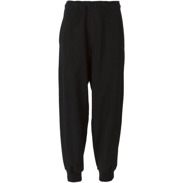 Y's Cropped Trousers (1,155 CAD) ❤ liked on Polyvore featuring pants, capris, black, black trousers, cropped pants, cropped trousers, black crop pants and wool pants