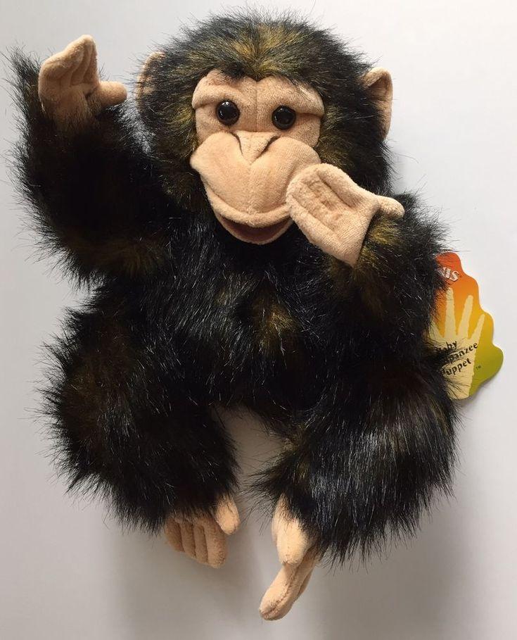 Folkmanis Puppets Baby Chimpanzee Monkey Plush Stuffed Animal Toy New #Folkmanis