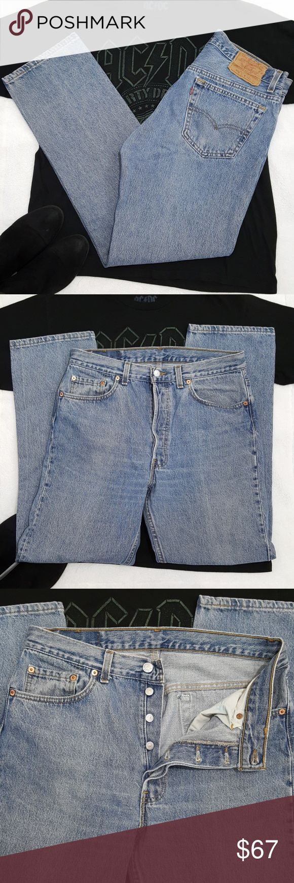 Vintage Levi's 501 Jeans 34x30 This is a size 34 contest mom jeans  Normal wear. No holes or tears.   Bundle & save. Zara suede heeled ankle boots &ACDC tee in photo are also available.  2397 Levi's Jeans Straight Leg