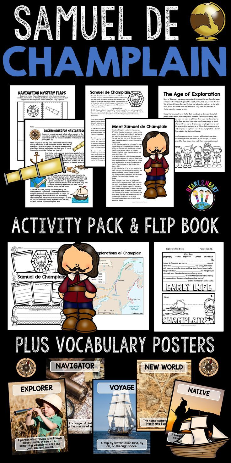 Students will love learning about him with this fun and engaging resource. This pack on Samuel de Champlain has it all with informational articles, biography organizer, comprehension questions, vocabulary posters, map activity, and a 5-page flip-up book!