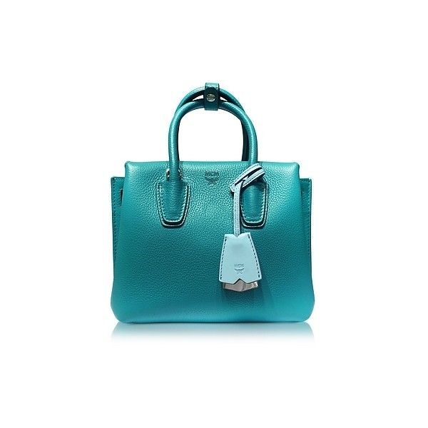 MCM Handbags Milla Park Avenue Oasis Green Leather Mini Tote (2,885 AED) ❤ liked on Polyvore featuring bags, handbags, tote bags, green, blue leather handbags, blue leather purse, leather tote bags, leather tote purse and mcm tote bag