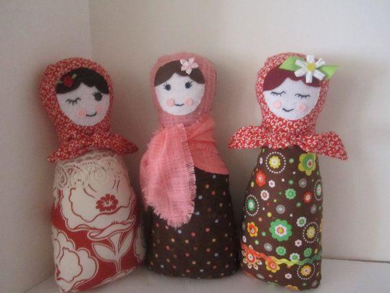 Russian Babushka Matryoshka Folk Doll Stuffed Soft Cuddly Toy DOLL or DOORSTOP for Girls- Coral, Orange, Brown, Rust, White - CHOICE