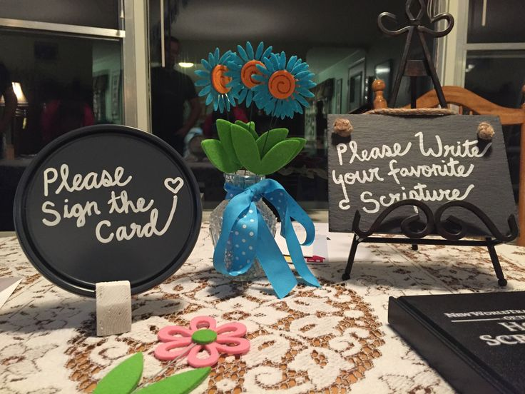 Creative signs to use a party: Paint paint can lids with chalkboard paint and display them infront the object